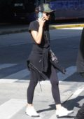 Bruna Marquezine keeps it casual with black t-shirt, leggings and sneakers as she arrives at Rio de Janeiro's International Airport in Rio, Brazil