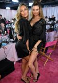 Candice Swanepoel, Behati Prinsloo are seen backstage during the 2018 Victoria's Secret Fashion Show in New York City