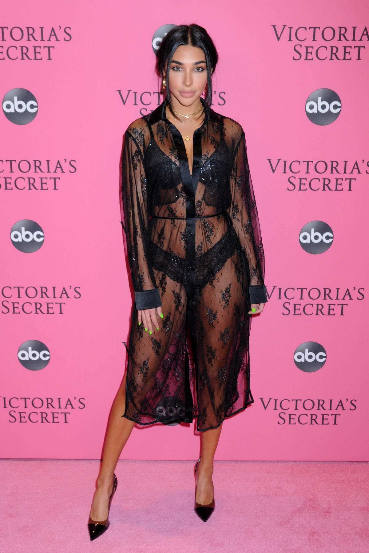 Chantel Jeffries attends the 2018 Victoria's Secret Fashion Show at Pier 94 in New York City