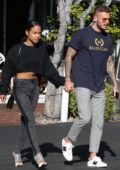 Christina Milian looks trendy as she steps out with boyfriend Matt Pokora to grab a bite at Alfred's in Studio City, Los Angeles