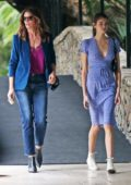 Cindy Crawford and Kaia Gerber greet a fan as they exit the Bel Air Hotel together in Los Angeles