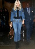 Devon Windsor rocks double denim with a Fendi handbag as she leaves Victoria's Secret offices in New York City