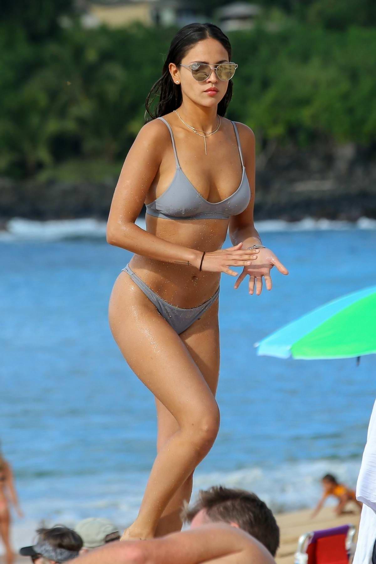 Eiza Gonzalez stuns in a silver bikini while enjoying a day at the beach in North Shore, Oahu, Hawaii