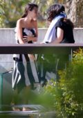Emily Ratajkowski seen draped in a towel during a photoshoot in Sydney, Australia