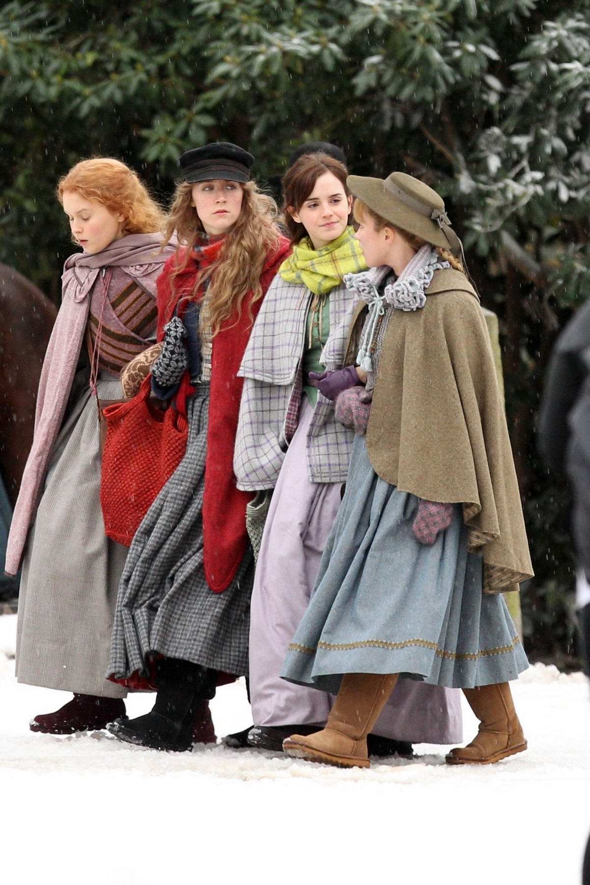 Emma Watson and Saoirse Ronan seen on the set of 'Little Women' in Harvard, Massachusetts
