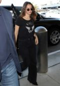 Felicity Jones dressed in all black as she arrives for an early morning flight out of LAX in Los Angeles