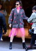 Hailee Steinfeld looks pretty in pink as she leaves her hotel in Bilbao, Spain