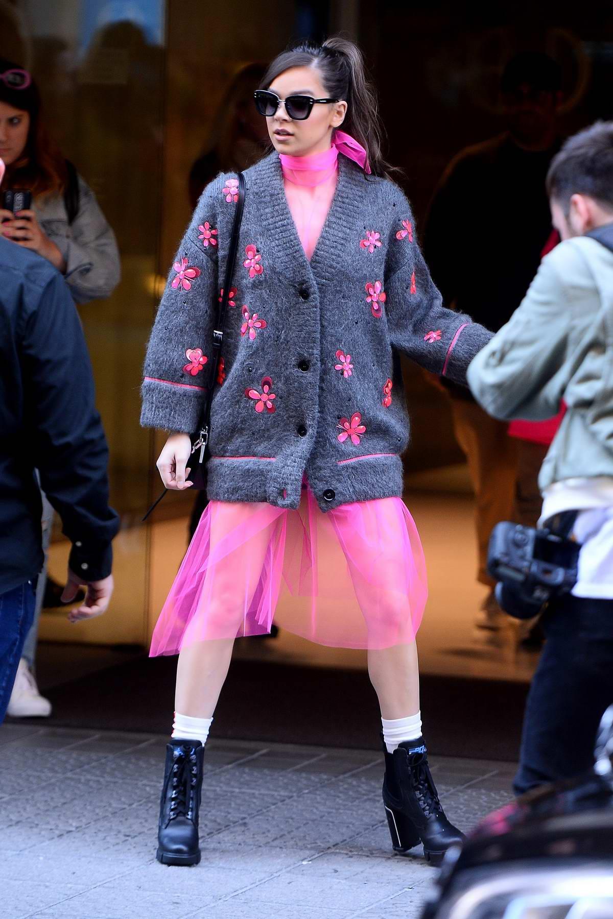 Hailee Steinfeld looks pretty in pink as she leaves her hotel in Bilbao, Spain