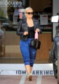Hilary Duff looks trendy while visiting Bellacures Spa in Los Angeles