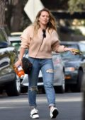 Hilary Duff spotted in a beige sweatshirt and jeans as she makes a stop to pick up apple juice from Ralph's in Los Angeles