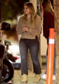 Hilary Duff takes her baby in a stroller while out for dinner with a friend in West Hollywood, Los Angeles
