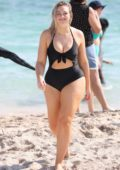 Iskra Lawrence spotted in a purple swimsuit during a beach photo shoot for Aerie in Miami Beach, Florida - Set 08
