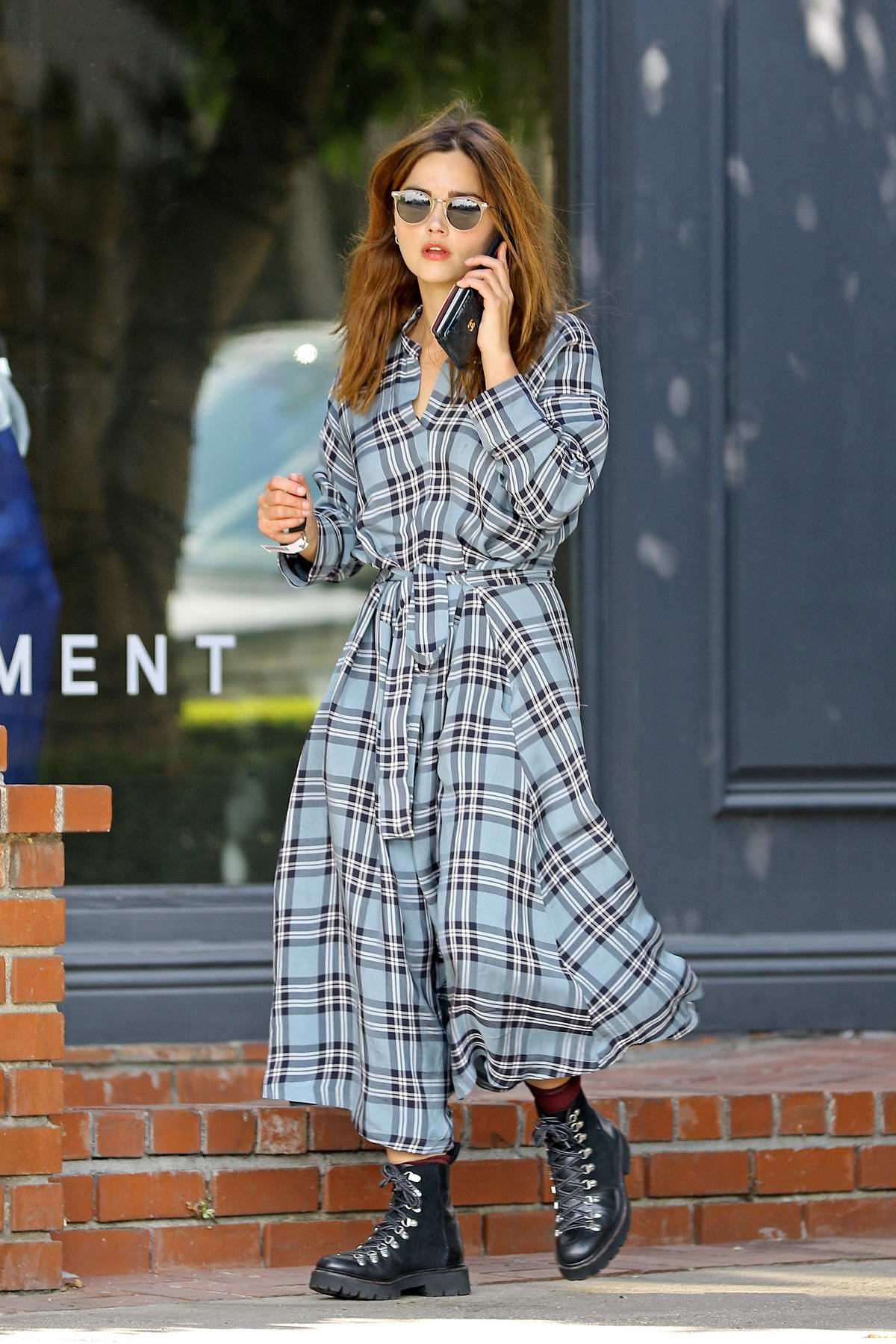 Jenna Coleman looks stylish in a plaid robe dress and ankle boots while out in Los Angeles