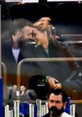 Jennifer Lawrence and Cooke Maroney enjoys the New York Rangers vs Buffalo Sabres NHL Hockey Game in New York