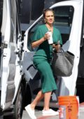 Jessica Alba spotted in a blue sweatsuit and later in green dress while filming L.A's Finest in Los Angeles