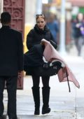 Jessica Chastain and Gian Luca Passi steps out with their newborn daughter in New York City