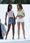 Josephine Skriver and Jasmine Tookes spotted in multiple outfits during a Victoria Sports photoshoot in Miami, Florida