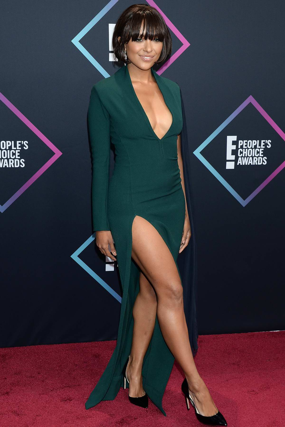 Kat Graham attends People's Choice Awards 2018 at Barker Hangar in Santa Monica, California