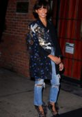 Kat Graham wearing a funky blazer and ripped jeans during a night out in New York City