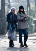Keira Knightley walks to a coffee shop with her mother Sharman Macdonald in Islington, London, UK