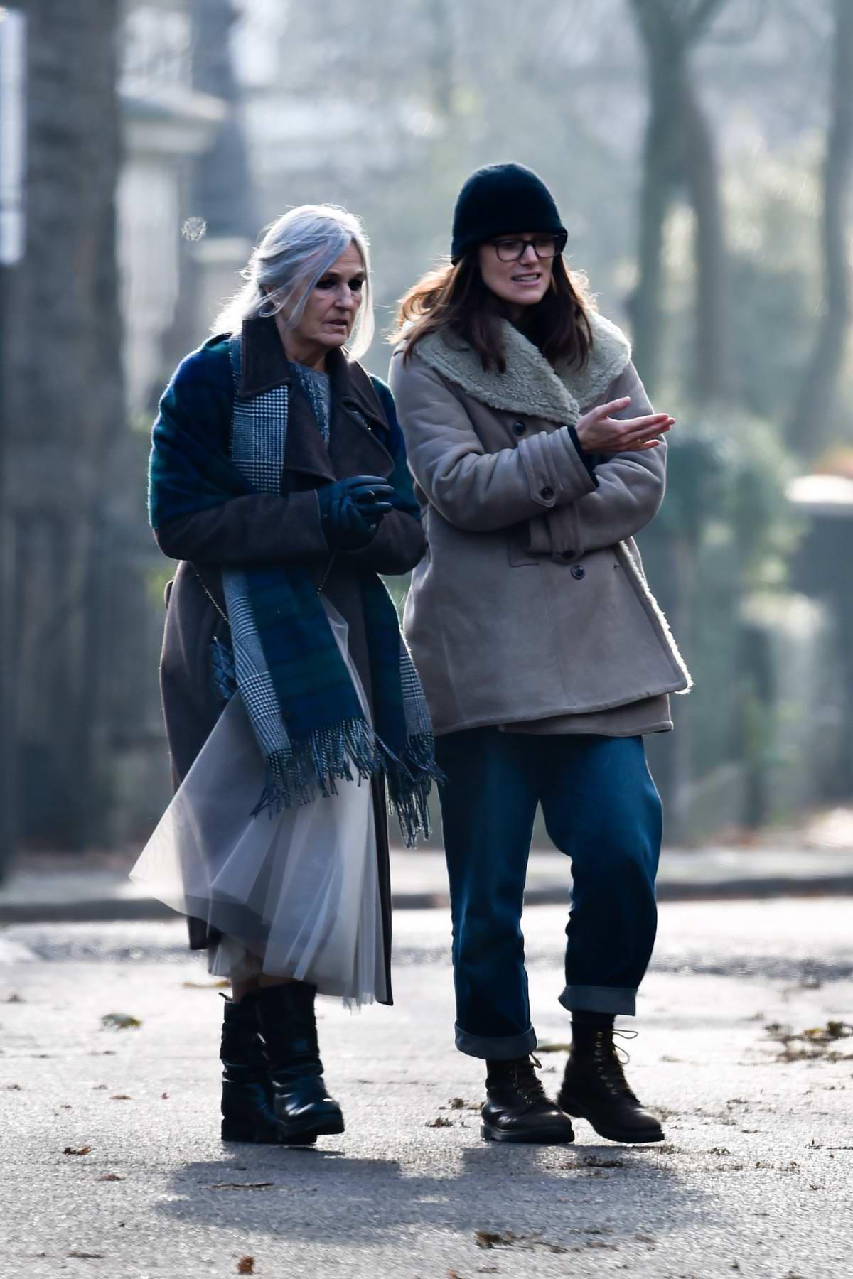 Keira Knightley walks to a coffee shop with her mother Sharman Macdonald in Islington, London, UK