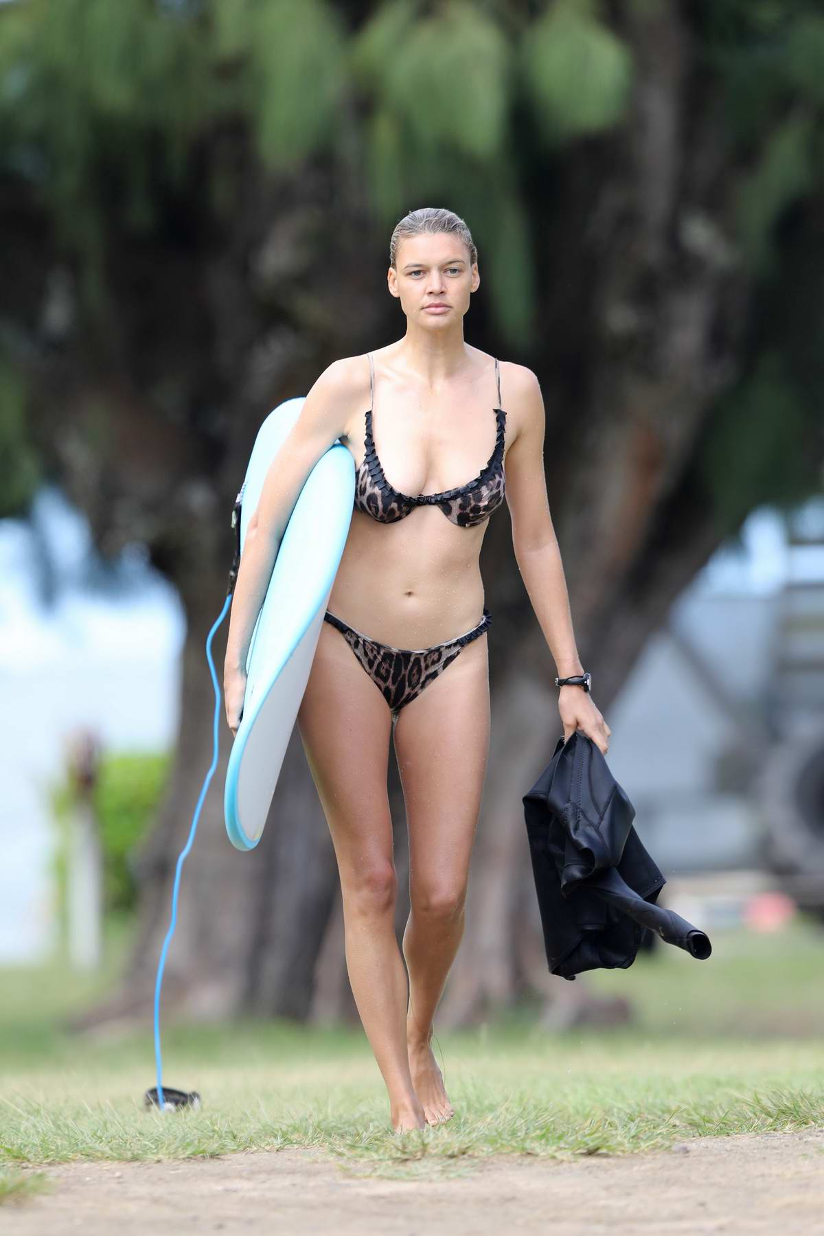 Kelly Rohrbach hits the beach in an animal-print bikini as she enjoys a day of surfing in Hawaii