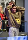 Kendall Jenner enjoys the Philadelphia 76ers vs Brooklyn Nets game at Barclays Center in Brooklyn, New York City
