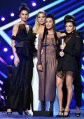 Kendall Jenner, Kim, Khloe and Kourtney Kardashian at the People's Choice Awards 2018 at Barker Hangar in Santa Monica, California
