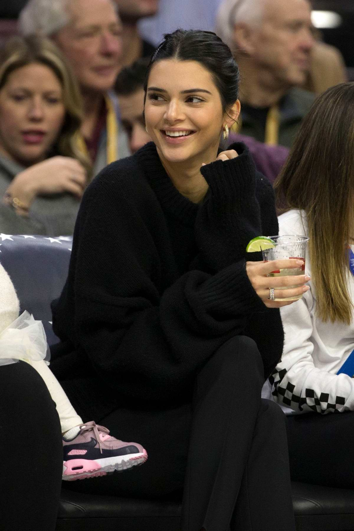 Kendall Jenner spotted courtside during the Cleveland Cavaliers vs Philadelphia 76ers game in Philadelphia