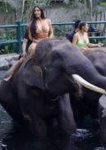 Kim Kardashian seen riding an elephant while on vacation in Bali, Indonesia