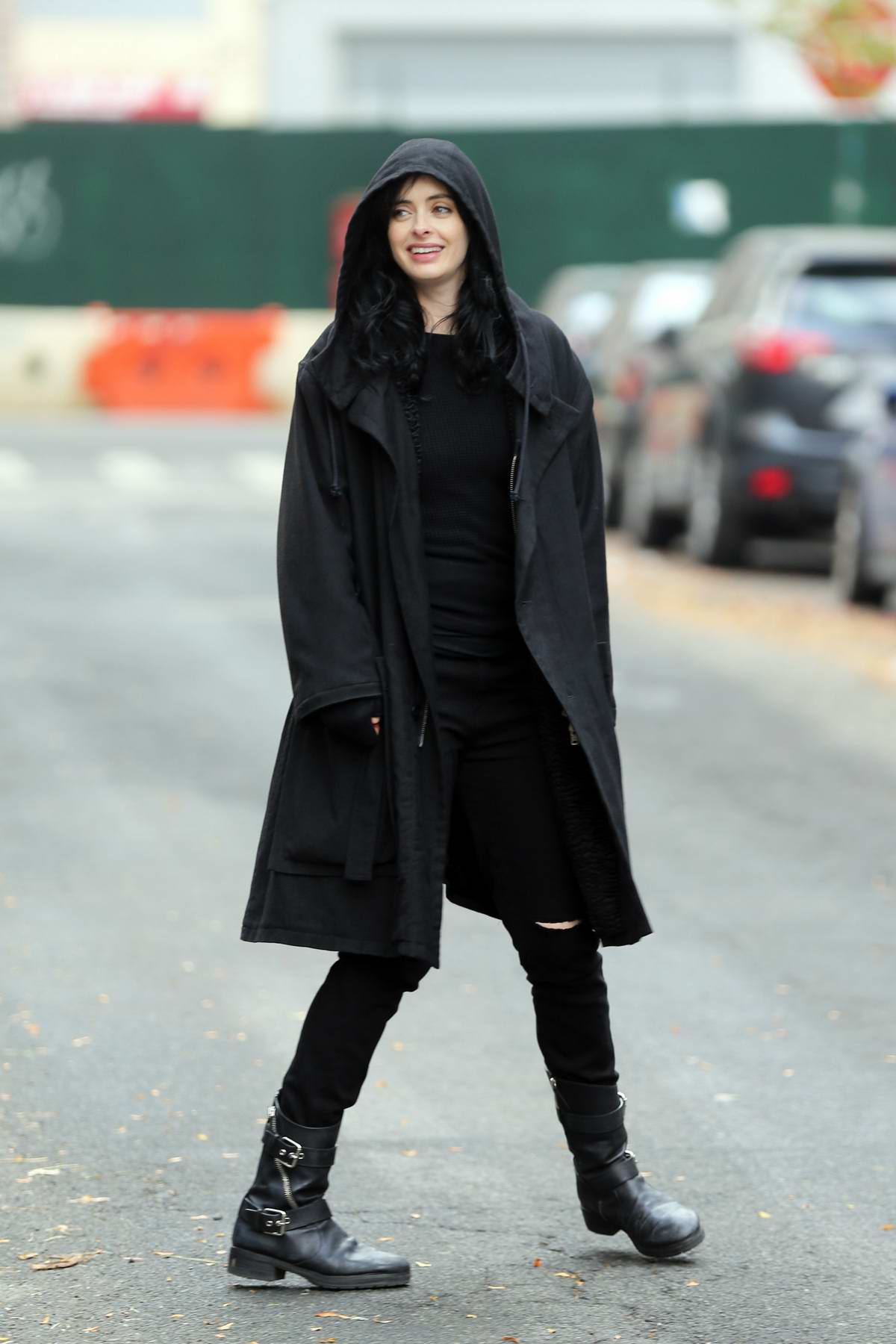 Krysten Ritter spotted on the set of Jessica Jones while filming scenes for Season 3 in New York City