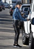 Lucy Hale looks fab in a cropped denim jacket and space print leggings as she leaves the gym in Studio City, Los Angeles
