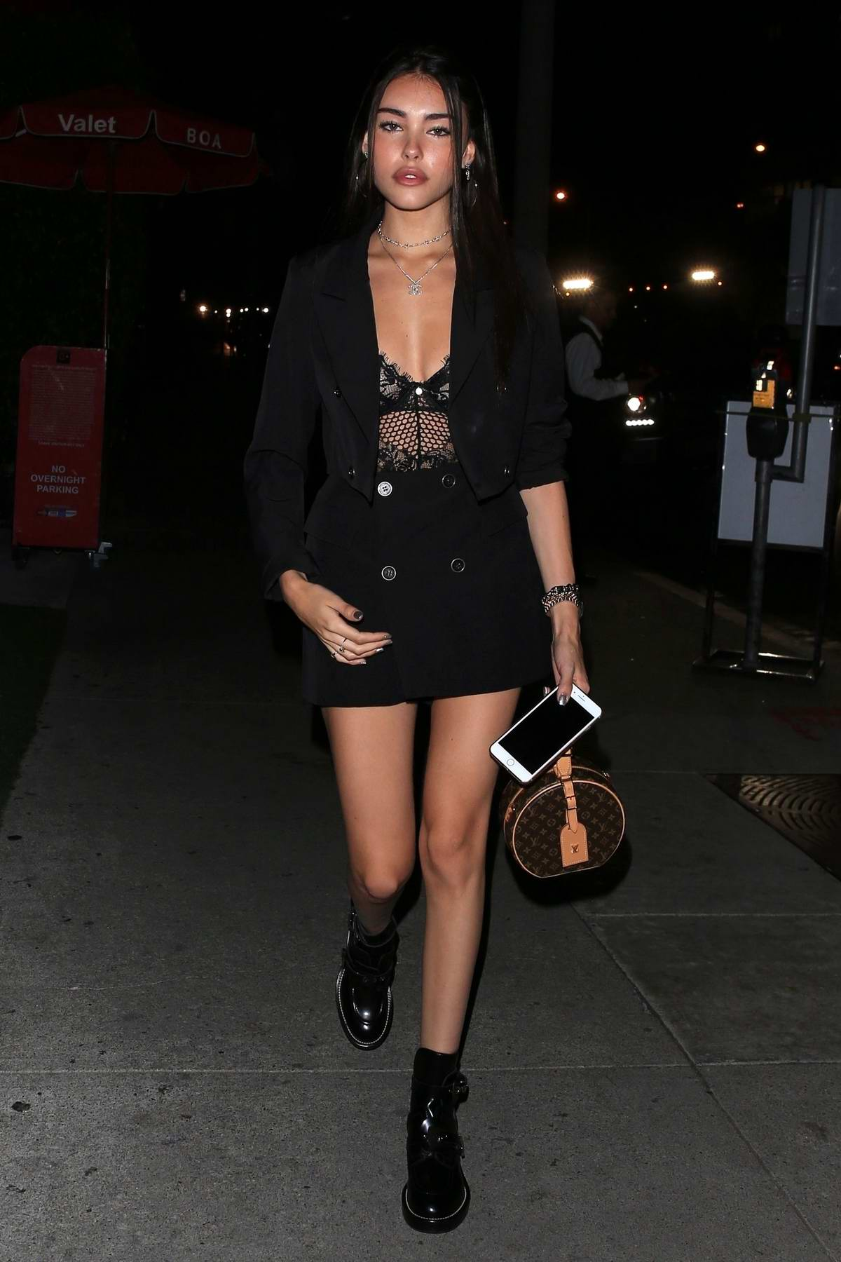 Madison Beer looked stylish in a short black outfit during a night out at BOA Steakhouse in West Hollywood, Los Angeles