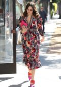 Mandy Moore seen wearing a colorful floral dress with matching pink heels and clutch as she leaves Lulur Spa in West Hollywood, Los Angeles