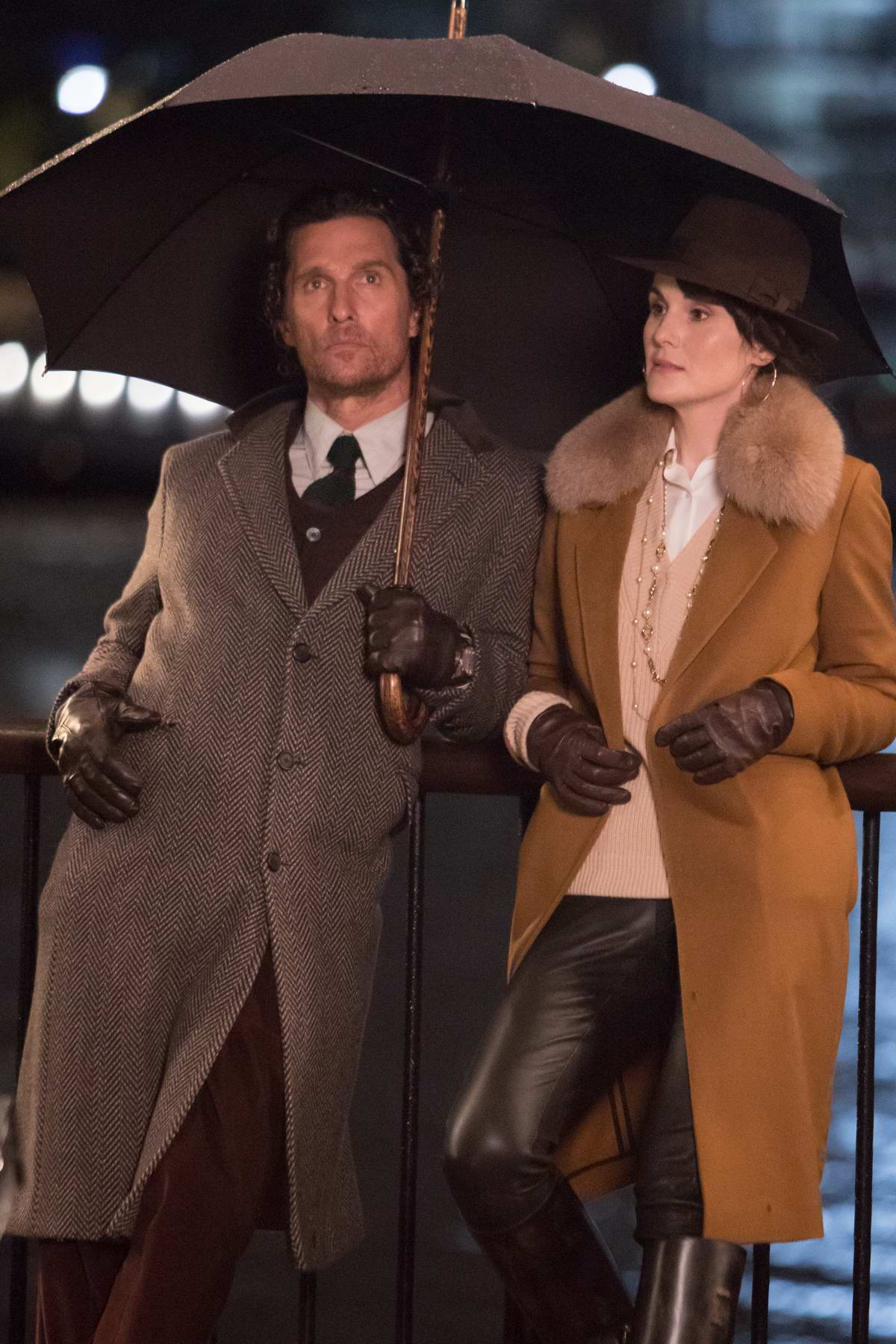 Michelle Dockery and Matthew McConaughey spotted while filming scenes for their upcoming movie 'Toff guys' in Southbank, London, UK