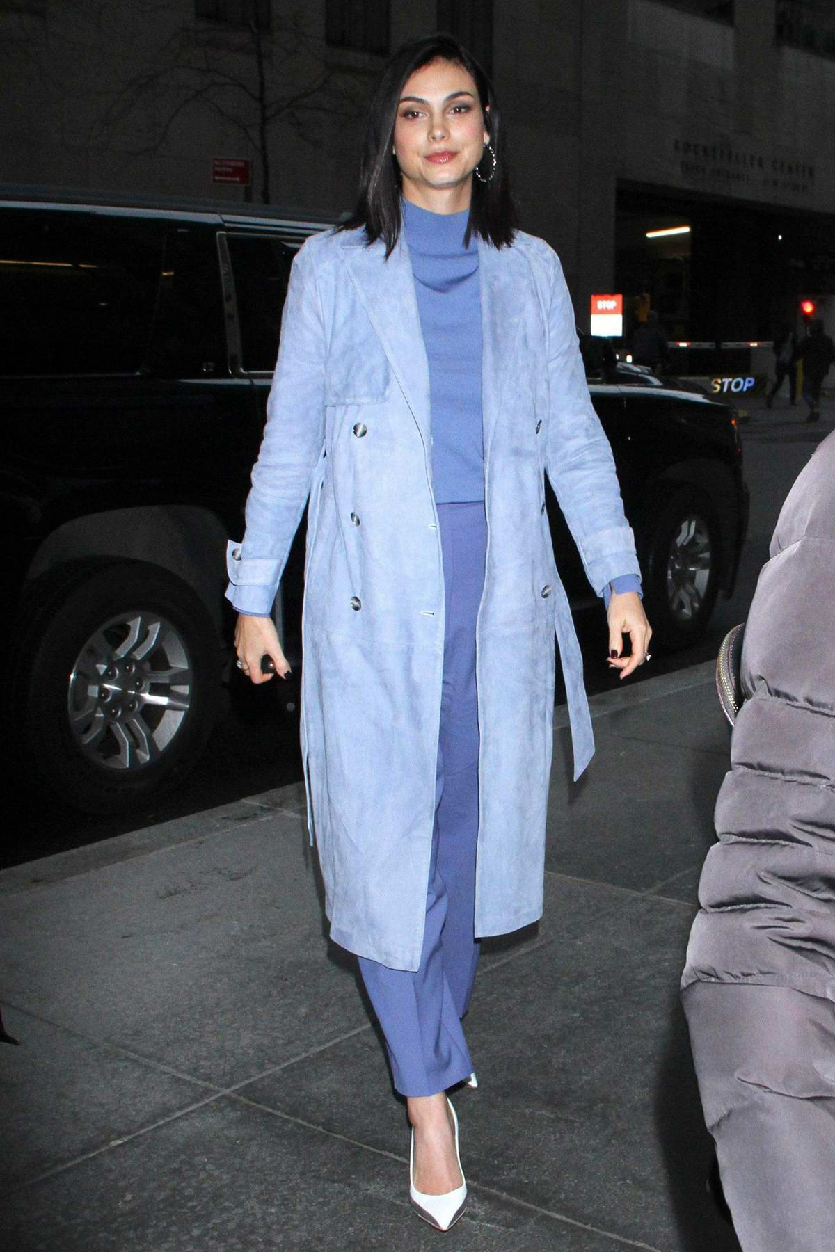 Morena Baccarin seen in an all purple ensemble as she arrives at NBC's New York Live in New York City