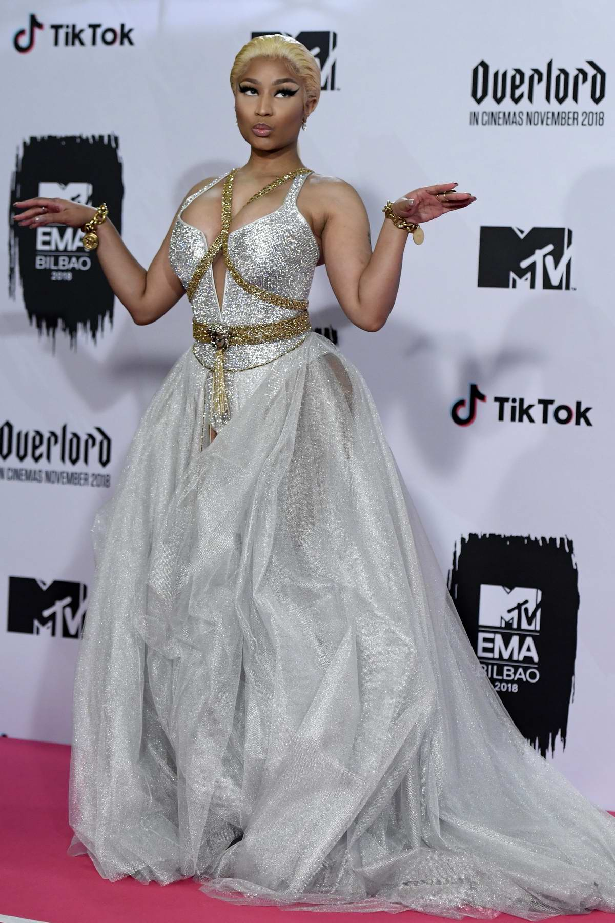 Nicki Minaj attends the MTV EMAs 2018 at the Bilbao Exhibition Centre in Bilbao, Spain
