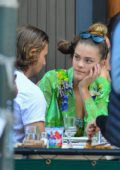 Nina Agdal and Jack Brinkley-Cook share a kiss during a romantic Al Fresco lunch at Bar Pitti in New York City