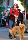 Olivia Cooke sports a huge baby bump while filming 'Modern Love' with a dog in Manhattan's East Village neighborhood in New York City