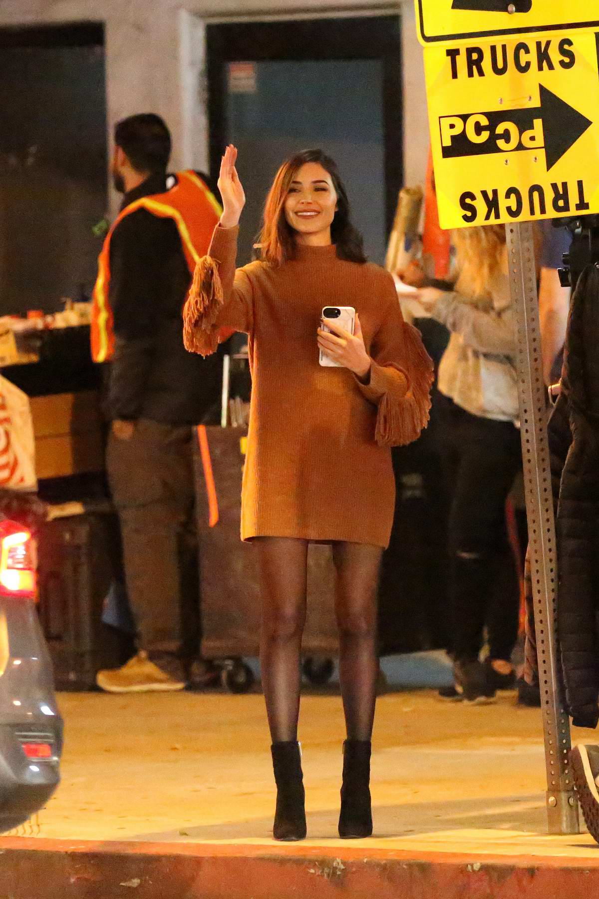 Olivia Culpo spotted in a brown sweater dress, outside Tenmasa restaurant on Sunset Boulevard in Los Angeles