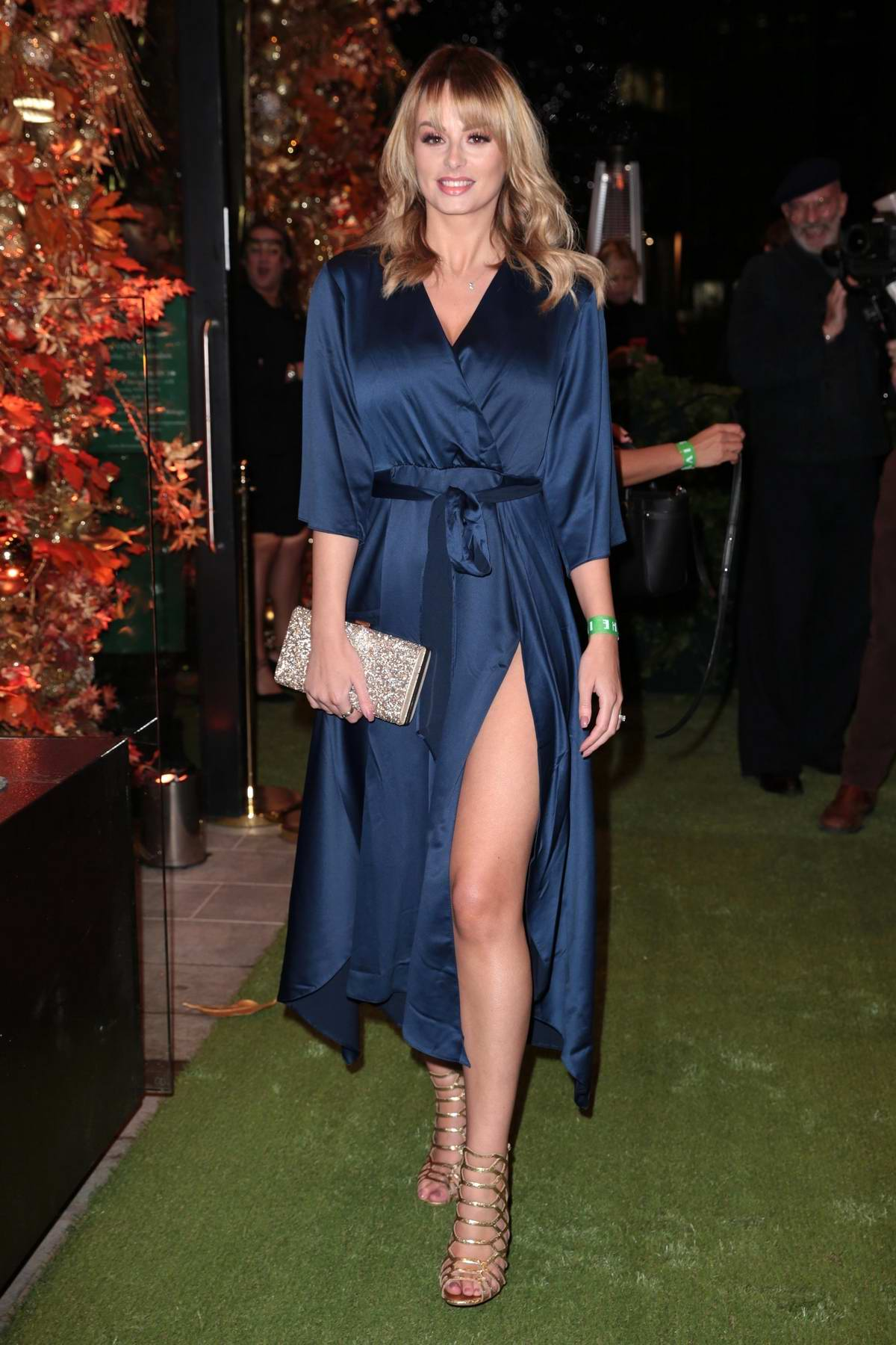 Rhian Sugden arrives at the Ivy restaurant launch in Manchester, UK