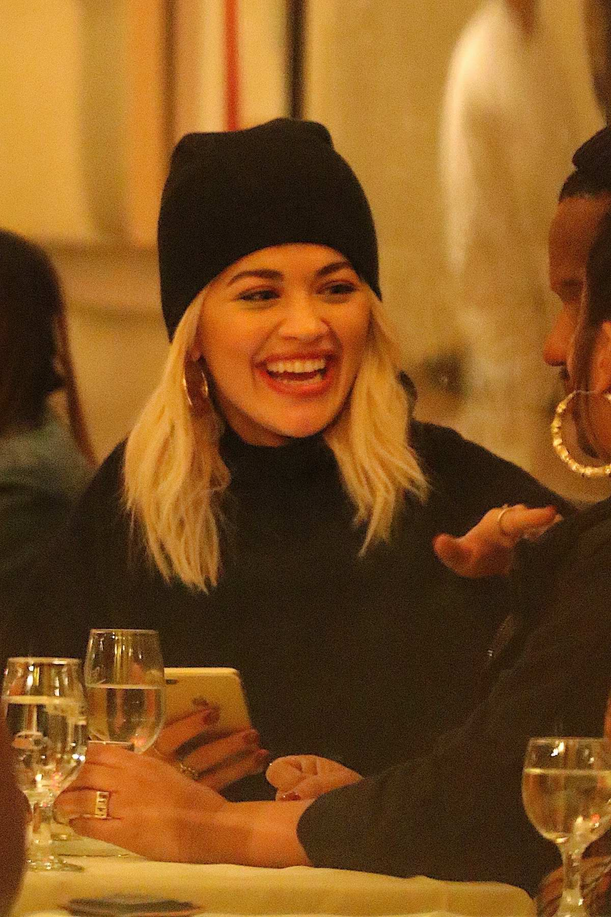 Rita Ora enjoys dinner with her friends at Cipriani Wall Street in New York City