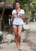 Sara Sampaio wears a t-shirt and denim shorts as she steps out to enjoy gelato during her vacation in Tulum, Mexico