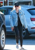 Sarah Michelle Gellar wore a denim jacket with black top and tights while she picked up some groceries in Santa Monica, California