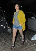 Sarah Silverman seen in a yellow sweater with grey top and denim shorts as she leaves Chiltern Firehouse in London, UK
