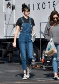 Shailene Woodley spotted in denim overalls and converse while on the set of upcoming Drake Doremus project in Los Angeles