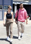 Sofia Richie wears a cropped black tank top while out and about with boyfriend Scott Disick in Sydney, Australia