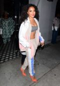 Tinashe shows off her toned abs as she leaves Craig's with her mother in West Hollywood, Los Angeles