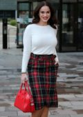 Vicky Pattison wears a long sleeve white top and plaid skirt as she leaves ITV Studios in London, UK
