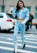 Victoria Justice rocks a denim look in a cropped denim jacket and flared jeans while out and about in New York City